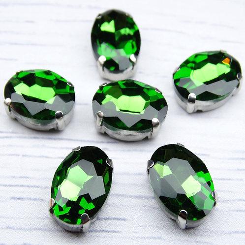 ОЦ008НН1014 Хрустальные стразы в цапах овальные, цвет: зеленый, 10х14 мм, 1 шт