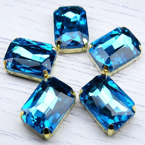 ПЦ008НН1318 Хрустальные стразы в цапах, цвет: голубой, размер: 13х18 мм, 1 шт.