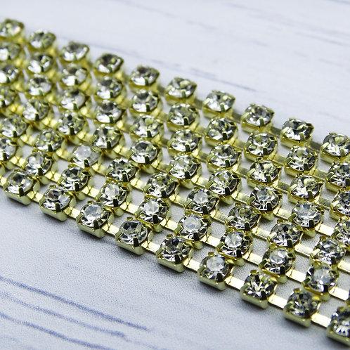 ЦС001ЗЦ2 Стразовые цепочки (золото), цвет: Белый, размер: 2 мм, 30 см/упак.