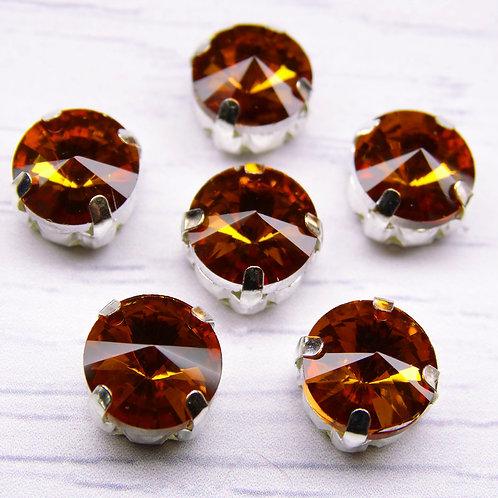 РЦ007НН10 Хрустальные стразы в цапах круглые, цвет: янтарный, 10 мм, 1 шт.