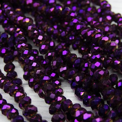 БЛ005НН34 Хрустальные бусины, цвет: фиолетовый (металлик), размер: 3х4 мм.