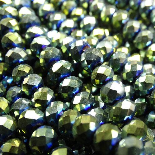 БЛ004НН46 Хрустальные бусины, цвет: зеленый (металлик), размер: 4х6 мм.
