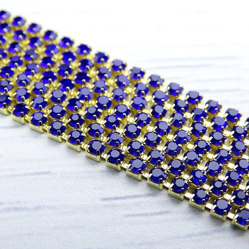 ЦС005ЗЦ2 Стразовые цепочки (золото), цвет: Сапфир, размер: 2 мм, 30 см/упак.