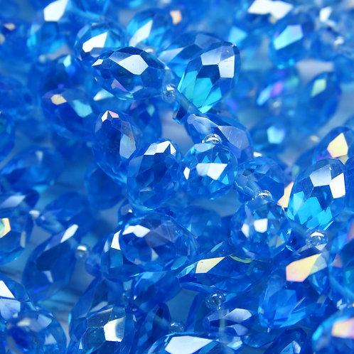БК008ДС612 Хрустальные бусины-капли, голубой (с покрытием), 6х12 мм, 10 шт.