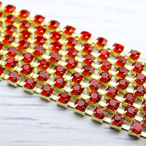 ЦС007ЗЦ3 Стразовые цепочки (золото), цвет: Красный, размер: 3 мм, 30 см/упак.