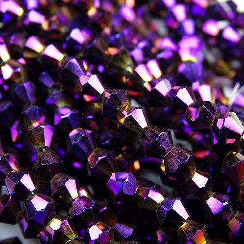 """ББЛ005НН4 Хрустальные бусины """"биконус"""", фиолетовый металлик, 4 мм"""