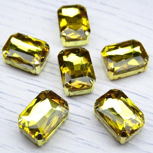 ПЦ002НН1014 Хрустальные стразы в цапах, цвет: желтый, размер: 10х14 мм, 1 шт.