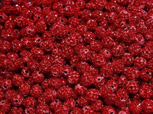 ДШ008НН8 Бусины из полимерной глины и страз, цвет: красный, размер: 8 мм, 1 шт.