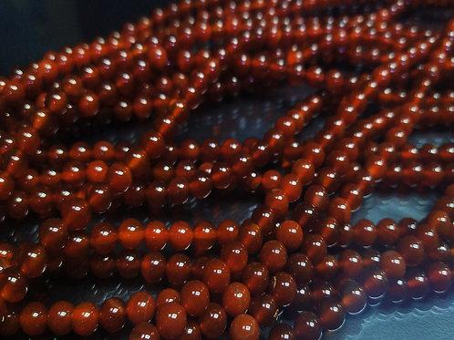 ПК014НН4 Бусины из природного камня агат (красный), размер: 4 мм, 1 шт.