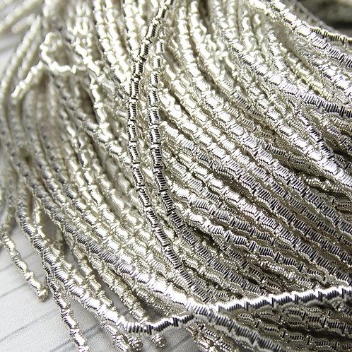 """ТБ001НН2 Трунцал фигурный """"бамбук"""", цвет: серебро, размер: 2 мм, 5 грамм"""