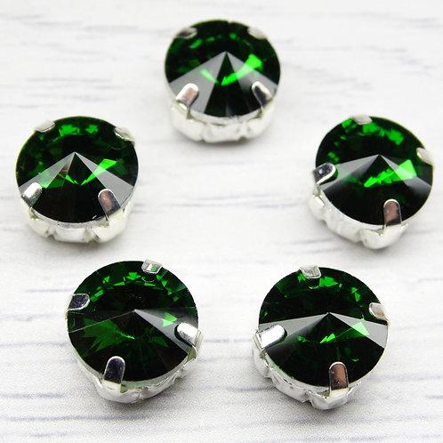 РЦ017НН12 Хрустальные стразы в цапах круглые, цвет: зеленый, 12 мм, 1 шт.