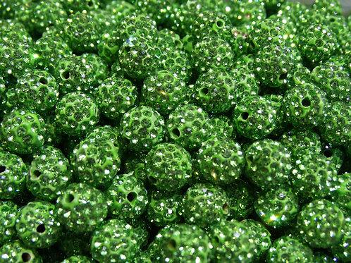 ДШ012НН10 Бусины из полимерной глины и страз, цвет: светло-зеленый, 10 мм, 1 шт.