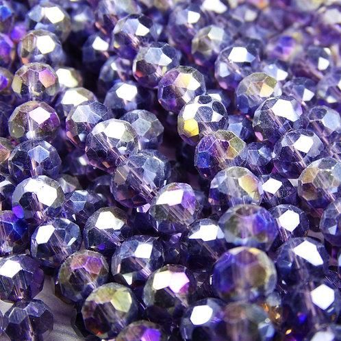 БП031ДС46 Хрустальные бусины, цвет: фиолетовый (с покрытием), размер: 4х6 мм