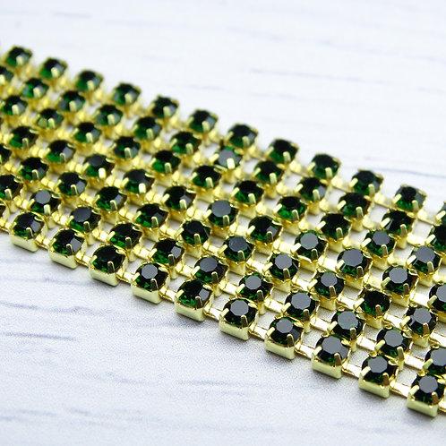 ЦС010ЗЦ3 Стразовые цепочки (золото), цвет: Изумруд, размер: 3 мм, 30 см/упак.
