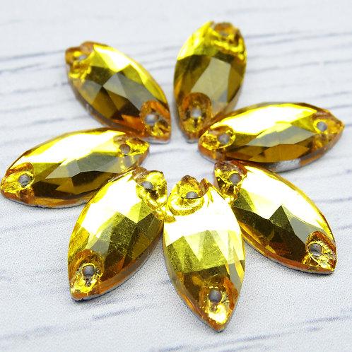 МИ002НН715 Хрустальные стразы (миндаль) пришивные, цвет: желтый, 7х15 мм, 1 шт.