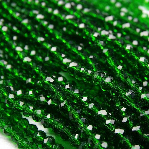 БП022НН23 Хрустальные бусины, цвет: темно-зеленый, размер: 2х3 мм.