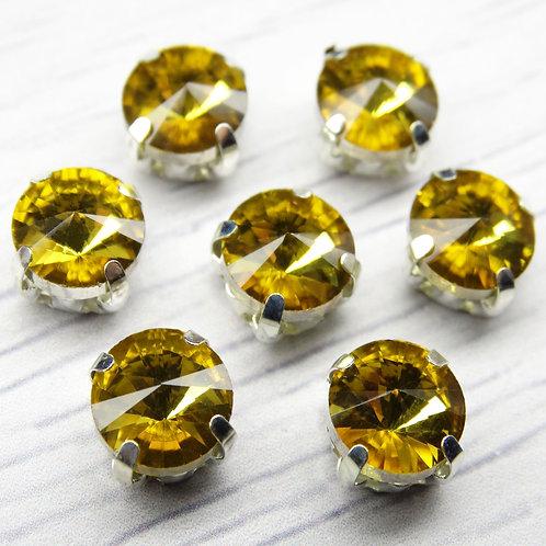 РЦ005НН8 Хрустальные стразы в цапах круглые, цвет: желтый, размер: 8 мм, 1 шт.