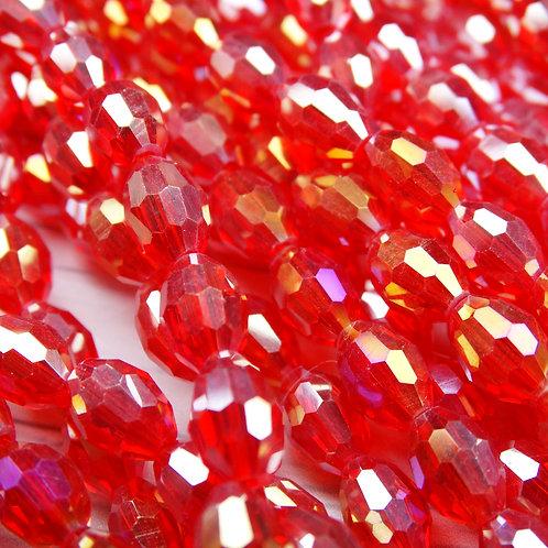 """БО003ДС68 Хрустальные бусины """"овал"""", ярко-красный (с покрытием),  6х8 мм, 15 шт."""