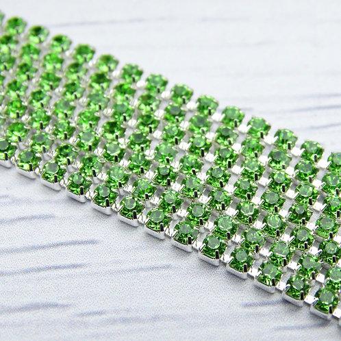 ЦС009СЦ2 Стразовые цепочки (серебро), цвет: Зеленый, размер: 2 мм, 30 см/упак.