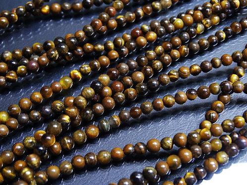 ПК008НН4 Бусины из природного камня тигровый глаз, размер: 4 мм, количество 1 шт