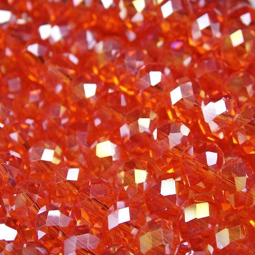 БП033ДС68 Хрустальные бусины, цвет: ярко-рыжий (с покрытием), размер: 6х8 мм.