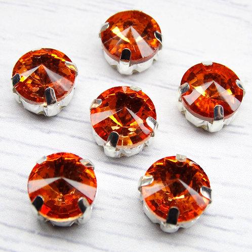 РЦ006НН10 Хрустальные стразы в цапах круглые, цвет: рыжий, размер: 10 мм, 1 шт.