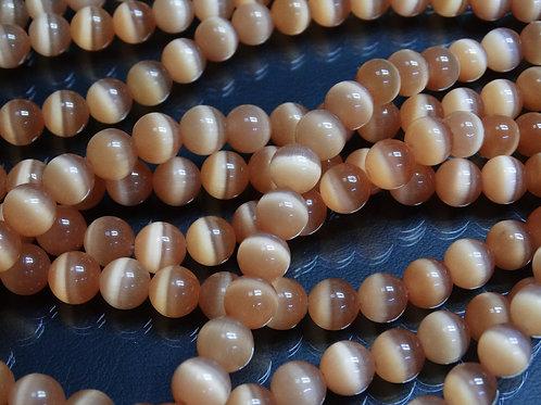 ПК011НН10 Бусины из природного камня кошачий глаз (бежевый), размер: 10 мм, 1 шт