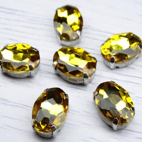 ОЦ004НН1014 Хрустальные стразы в цапах овальные, цвет: желтый, 10х14 мм, 1 шт.