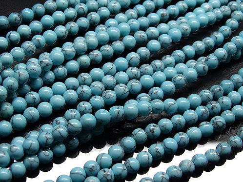 ПК001НН6 Бусины из природного камня бирюза, размер: 6 мм, количество 1 шт.