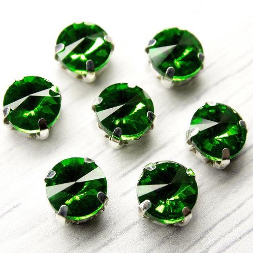 РЦ017НН8 Хрустальные стразы в цапах круглые, цвет: зеленый, 8 мм, 1 шт.
