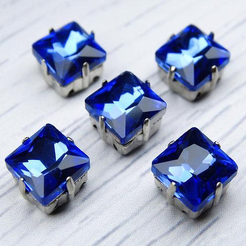 КЦ006НН8 Хрустальные стразы в цапах, цвет: синий, размер: 8х8 мм, 1 шт.