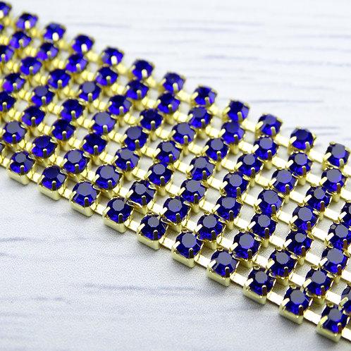 ЦС005ЗЦ3 Стразовые цепочки (золото), цвет: Сапфир, размер: 3 мм, 30 см/упак.