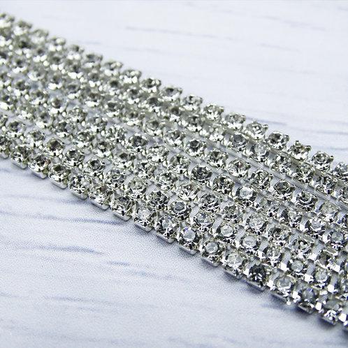 ЦС001СЦ2 Стразовые цепочки (серебро), цвет: Белый, размер: 2 мм, 30 см/упак.