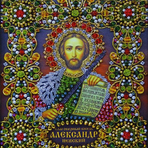 Ткань с нанесенной авторской схемой Благоверный князь Александр Невский