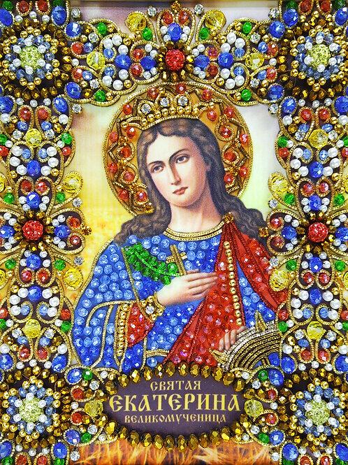Ткань с нанесенной авторской схемой Святая Екатерина Великомученица