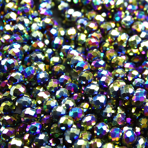 БЛ008НН23 Хрустальные бусины, цвет: разноцветный (металлик), размер: 2х3 мм