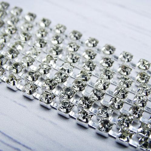 ЦС001СЦ3 Стразовые цепочки (серебро), цвет: Белый, размер: 3 мм, 30 см/упак.