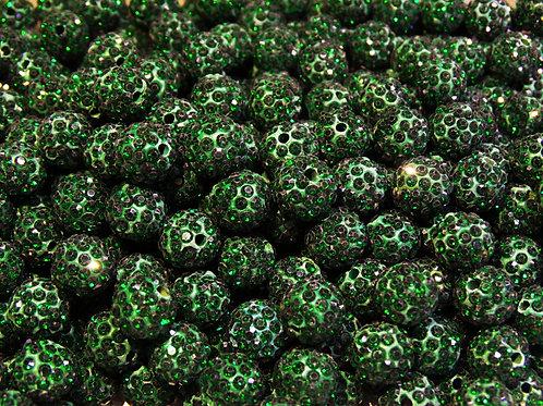 ДШ013НН10 Бусины из полимерной глины и страз, цвет: темно-зеленый, 10 мм, 1 шт.