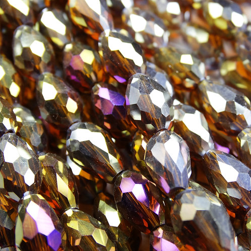 БК008ДС118 Хрустальные бусины-капли, коричневый (с покрытием), 8х11 мм, 10 шт.