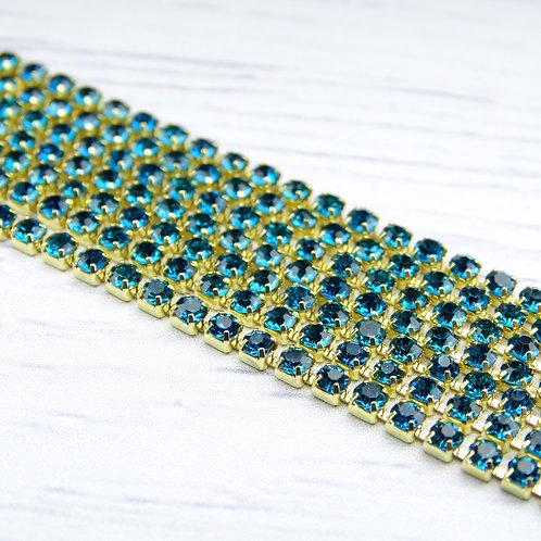 ЦС004ЗЦ2 Стразовые цепочки (золото), цвет: Лазурный, размер: 2 мм, 30 см/упак.