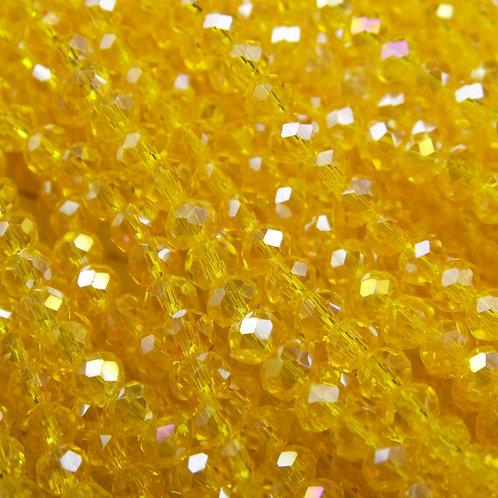 БП032ДС23 Хрустальные бусины, цвет: спелая дыня (с покрытием), размер: 2х3 мм