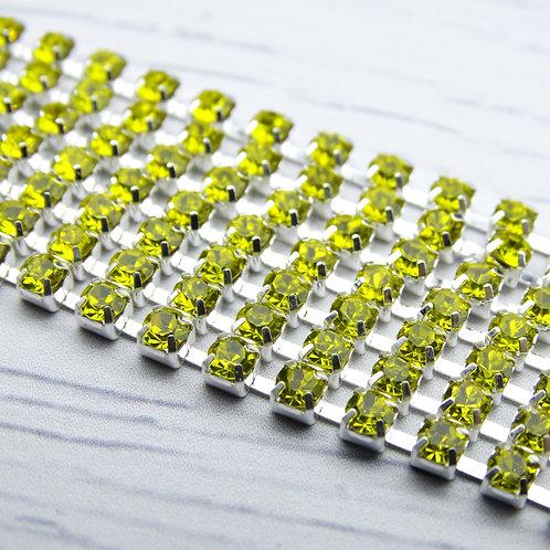 ЦС008СЦ3 Стразовые цепочки (серебро), цвет: Желтый, размер: 3 мм, 30 см/упак.