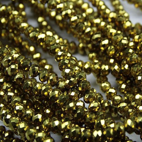 БЛ002НН23 Хрустальные бусины, цвет: золото (металлик), размер: 2х3 мм.