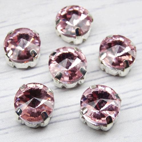 РЦ010НН10 Хрустальные стразы в цапах круглые, цвет: розовый, 10 мм, 1 шт.
