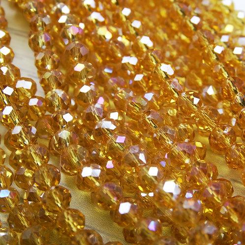 БП005ДС34 Хрустальные бусины, цвет: янтарный (с покрытием), размер: 3х4 мм