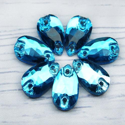 """ХК010НН712 Хрустальные стразы формы """"капля"""", цвет: голубой, 7х12 мм, 1 шт."""