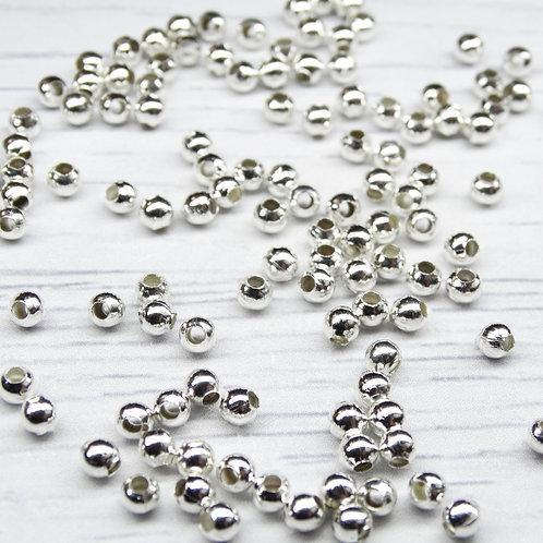 БС001НН3 Металлические бусины (посеребрение), размер: 3 мм, 5 грамм.