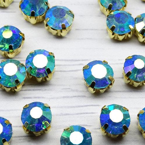 ЗЦ004ДС88 Хрустальные стразы в цапах, Голубой с покрытием (золото) 8 мм