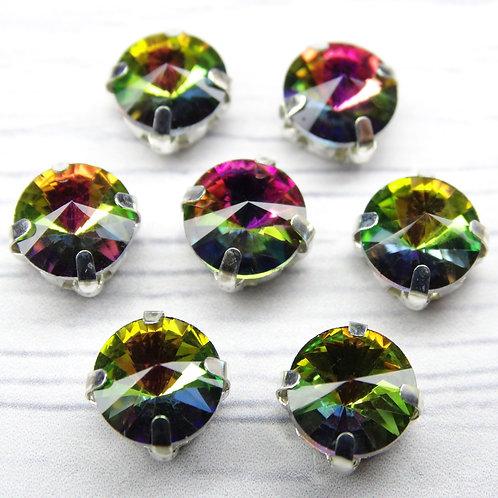 РЦ004НН8 Хрустальные стразы в цапах круглые, цвет: радужный, 8 мм, 1 шт.