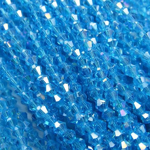 """ББ016ДС3 Хрустальные бусины """"биконус"""", ярко-голубой (с покрытием), 3 мм"""